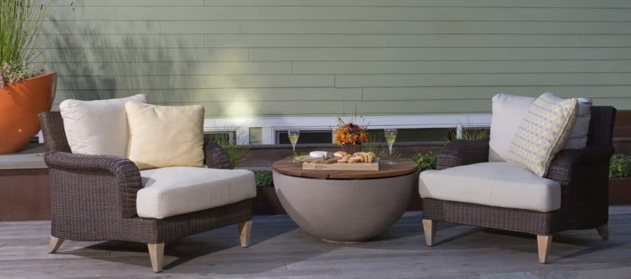Hemi 36 Shiitake Fire Bowl with Wooden Table Top